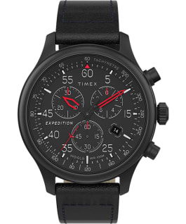 Montre chronomètre Expedition Field 43 mm Bracelet en cuir Noir large