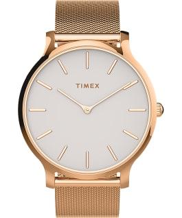Reloj Transcend de 38mm con correa de malla de acero inoxidable Tono oro rosa/Rosa/Blanco large