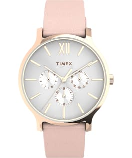 Montre Transcend Multifonction 38 mm Bracelet en cuir Or rose/Rose/Blanc large