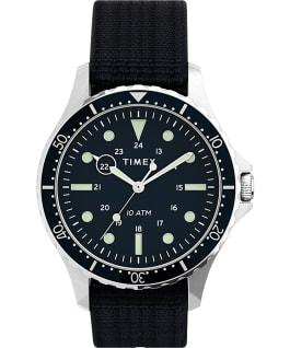 Zegarek Navi XL 41 mm z przewlekanym paskiem materiałowym Stal nierdzewna/Niebieski large