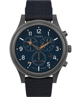 Allied LT Chronograph mit Textilarmband, 42 mm Graublau/blau large
