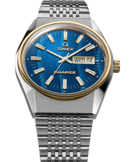 Q Timex Falcon Eye Neuauflage mit Edelstahlarmband, 38mm Edelstahl/blau/goldfarben large