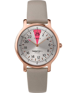25th Hour 34mm Leather Strap Watch Rose-Gold-Tone/Blue/Silver-Tone large
