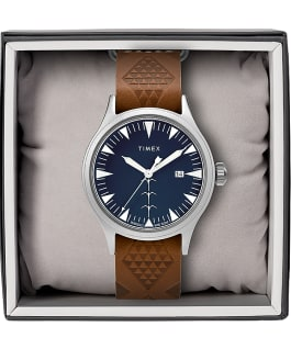 Timex x Keone Nunes 40mm Leather Strap Watch Silver-Tone/Brown/Blue large