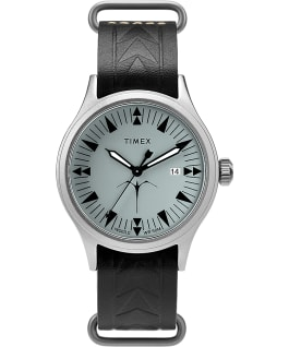 Orologio Timex x Keone Nunes 40mm con cinturino in pelle Silver/Nero/Grigio large