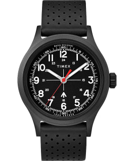 Timex x Todd Snyder Military Inspired 40mm Black Leather Strap Watch  large