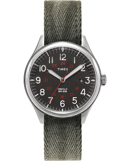 Reloj Waterbury United de 38 mm con correa de tela Negro/verde large
