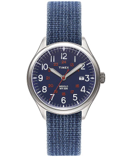 Reloj Waterbury United de 38 mm con correa de tela Azul/Azul large