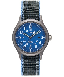 Allied mit Elastikarmband, 40 mm Blau/blau large