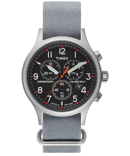 Archive Allied Chronograph 42mm Leather Strap Watch Silver-Tone/Gray/Black large