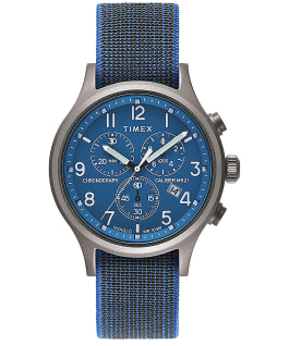 Allied Chronograph mit elastischem Textilarmband, 42 mm Blau/blau large