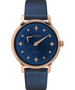Celestial Opulence Automatic 38 mm Armbanduhr mit strukturiertem Armband Roségoldfarben/blau large
