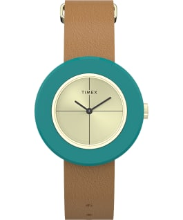 Variety 34mm Leather Strap Watch Blue/Tan/Gold-Tone large