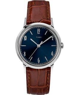 Reloj Marlin de 34 mm de cuerda manual con correa de cuero Stainless-Steel/Brown/Blue large