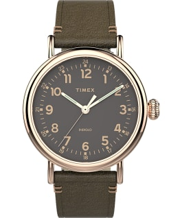 Standard 41mm Leather Strap Watch Rose-Gold-Tone/Green/Gray large