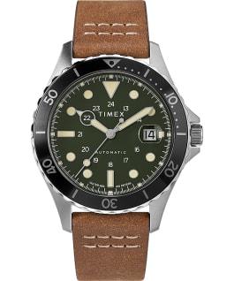 Reloj Navi XL automático de 41mm con correa de piel Acero inoxidable/Marrón/Verde large