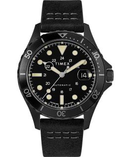 Reloj Navi XL automático de 41mm con correa de piel Acero inoxidable/Negro/Negro large