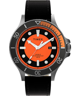 Montre Allied Coastline 43 mm Bracelet en tissu Argenté/Noir/Orange large