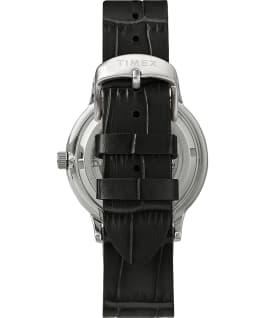 Reloj automático Waterbury Classic de 40mm con correa de piel y esfera de corazón abierto Acero inoxidable/Negro/Plateado large