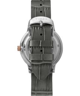 Reloj automático Waterbury Classic de 40mm con correa de piel y esfera de corazón abierto Acero inoxidable/Gris/Negro large