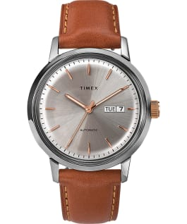 Marlin Automatic 40mm Leather Strap Watch with Day Date Stainless-Steel/Brown/Cream large