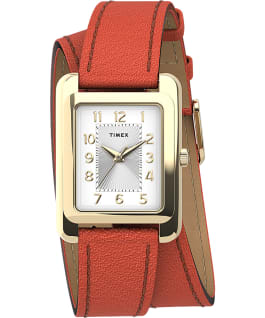 Montre Addison 25 mm Bracelet double tour en cuir Gold/Orange large