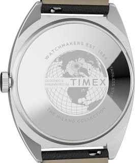 Zegarek Milano XL 38 mm z paskiem skórzanym Stal nierdzewna/Czarny/Srebrny large