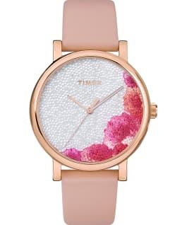 Zegarek Full Bloom 38 mm z kryształkami Swarovski i paskiem skórzanym Różowe złoto/Różowy/Biały large