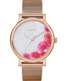Zegarek Full Bloom 38 mm z kryształkami Swarovski i siatkową bransoletą Różowe złoto/Biały large