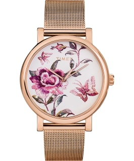 Reloj Full Bloom de 38 mm con correa de malla Tono oro rosa/Rosa/Blanco large