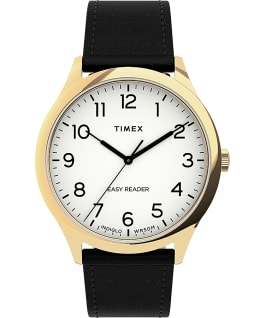 Montre Easy Reader Gen1 40 mm Bracelet en cuir Doré/Noir/Blanc large