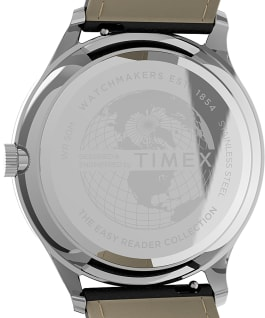 Montre Easy Reader Gen1 40 mm Bracelet en cuir Argenté/Noir large