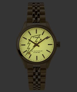 Waterbury Neon 34mm Stainless Steel Bracelet Watch Gold-Tone/Cream large
