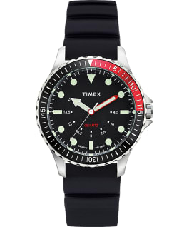Navi Depth 38mm Silicone Strap Watch Stainless-Steel/Black large
