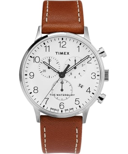 Waterbury Classic Chronograph with Timex Pay 40mm Leather Strap Watch Stainless-Steel/Brown/White large