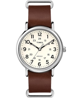 Weekender with Timex Pay 40mm Leather Slip Thru Strap Watch Silver-Tone/Brown/Cream large