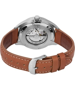 Montre automatique Waterbury Classic 40 mm Bracelet en cuir avec cadran cœur ouvert Stainless-Steel/Brown/Blue large