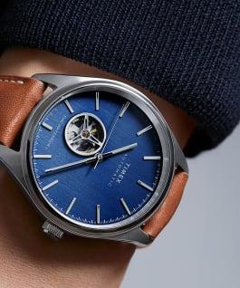 Montre automatique Waterbury Classic 40mm Bracelet en cuir avec cadran cœur ouvert, Stainless-Steel/Brown/Blue, large