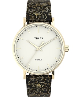 Fairfield Floral 37mm Leather Strap Watch Gold-Tone/Black/Cream large