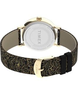 Montre Fairfield Floral 37mm Bracelet en cuir Doré/Noir/Crème large