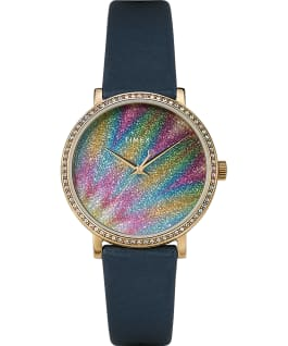 Celestial Opulence Northern Lights with Swarovski Crystals 38mm Leather Strap Watch Gold-Tone/Blue large