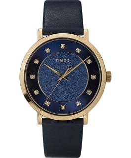 Celestial Opulence with Swarovski Crystals 38mm Leather Strap Watch Gold-Tone/Blue large