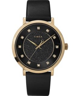 Celestial Opulence with Swarovski Crystals 38mm Leather Strap Watch Gold-Tone/Black large