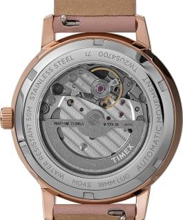 Celestial Opulence Automatic 38mm Leather Strap Watch with Open Heart Moon Dial Rose-Gold-Tone/Pink/Silver-Tone large