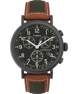 Timex Standard Chronograph 41mm Fabric with Leather Strap Watch Gunmetal/Brown/Black large