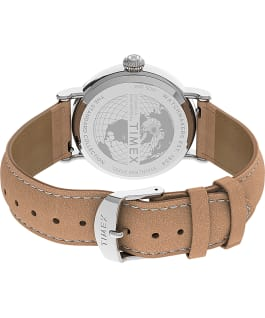 Standard 40mm Leather Strap Watch Silver-Tone/Cream/Tan large