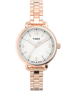 Timex Standard Demi 32mm Stainless Steel Bracelet Watch Rose-Gold-Tone/White large
