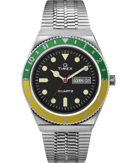 Q Timex Reissue 38mm Stainless Steel Bracelet Watch, Stainless-Steel/Black/Green/Yellow, large