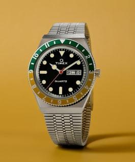 Montre Q Timex Reissue 38mm Bracelet en acier inoxydable, Stainless-Steel/Black/Green/Yellow, large