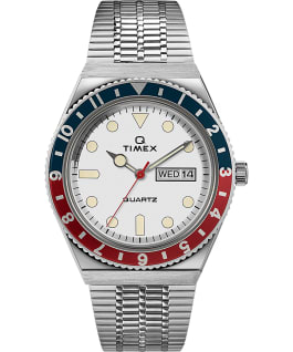 Orologio reissue Q Timex da 38 mm con bracciale in acciaio Stainless-Steel/White/Red/Blue large